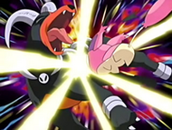 EP393 Skitty usando placaje sobre Houndoom
