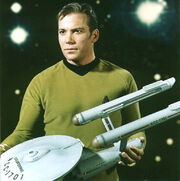 USS Enterprise three foot model held by William Shatner